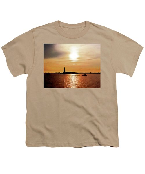 Statue Of Liberty At Sunset Youth T-Shirt