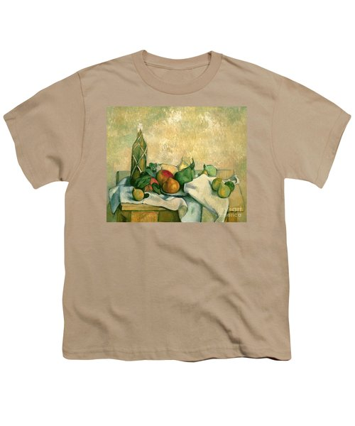 Still Life With Bottle Of Liqueur Youth T-Shirt by Paul Cezanne