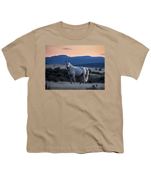 Sunset With Wild Stallion Tripod In Sand Wash Basin Youth T-Shirt