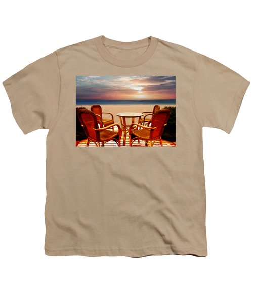 Table For Four At The Beach At Sunset Youth T-Shirt