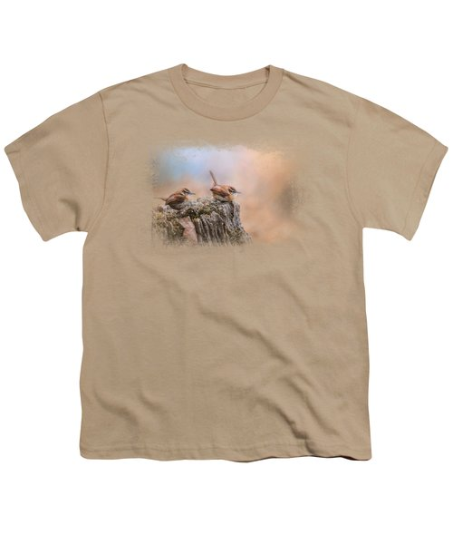 Two Little Wrens Youth T-Shirt by Jai Johnson