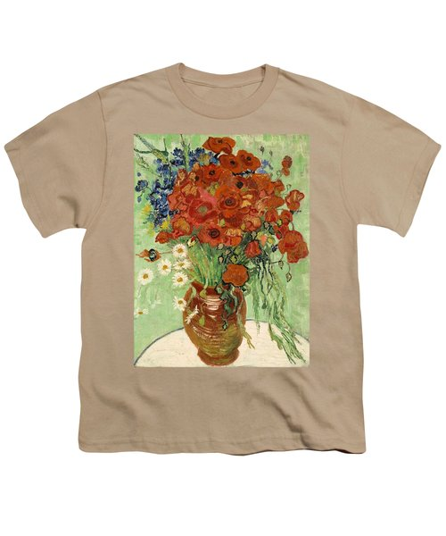 Youth T-Shirt featuring the painting Vase With Daisies And Poppies by Van Gogh