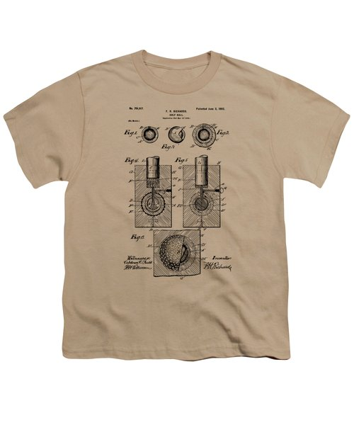 Vintage 1902 Golf Ball Patent Artwork Youth T-Shirt by Nikki Marie Smith