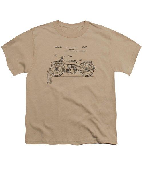 Vintage Harley-davidson Motorcycle 1924 Patent Artwork Youth T-Shirt by Nikki Smith
