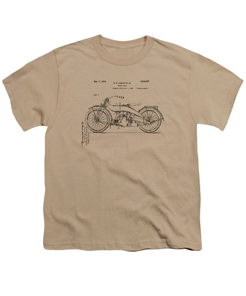 Vintage Harley-davidson Motorcycle 1924 Patent Artwork Youth T-Shirt