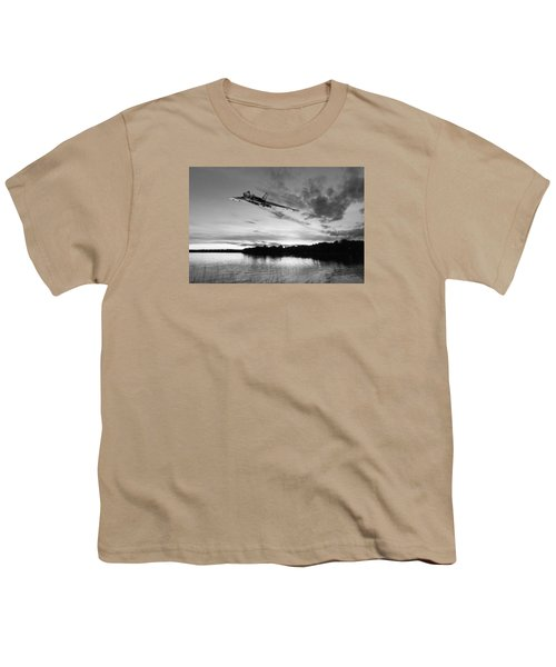 Youth T-Shirt featuring the digital art Vulcan Low Over A Sunset Lake Sunset Lake Bw by Gary Eason