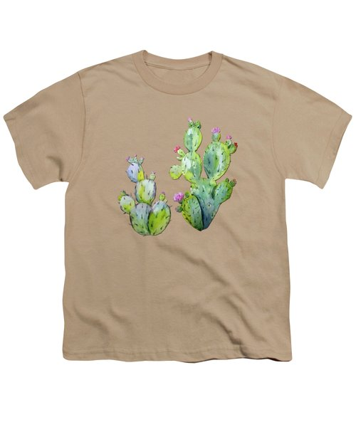 Water Color Prickly Pear Cactus Adobe Background Youth T-Shirt by Elaine Plesser