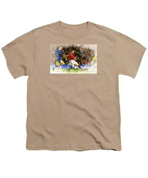 Wayne Rooney Of Manchester United Scores Youth T-Shirt