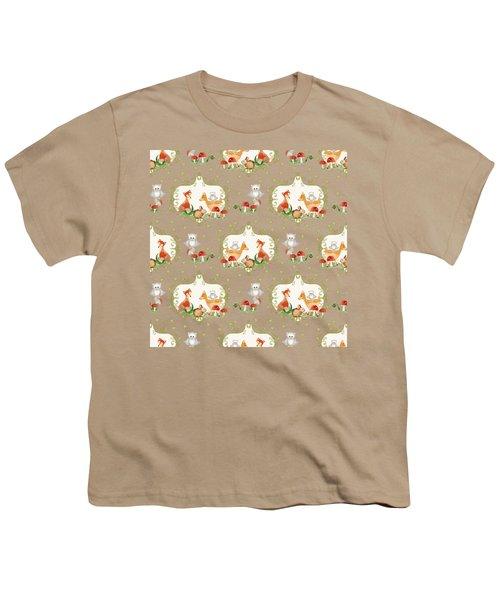 Woodland Fairy Tale - Mint Green Sweet Animals Fox Deer Rabbit Owl - Half Drop Repeat Youth T-Shirt