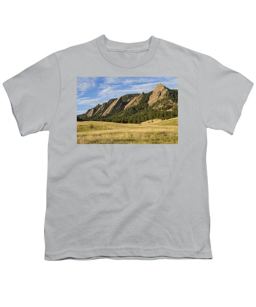 Flatirons With Golden Grass Boulder Colorado Youth T-Shirt