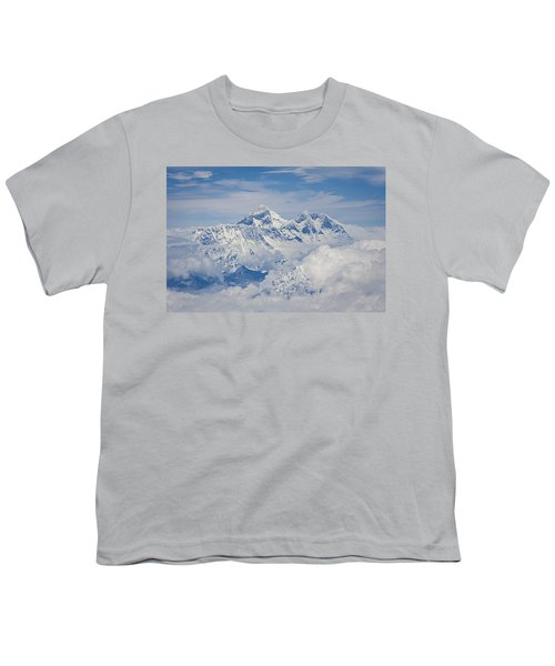Aerial View Of Mount Everest Youth T-Shirt by Hitendra SINKAR