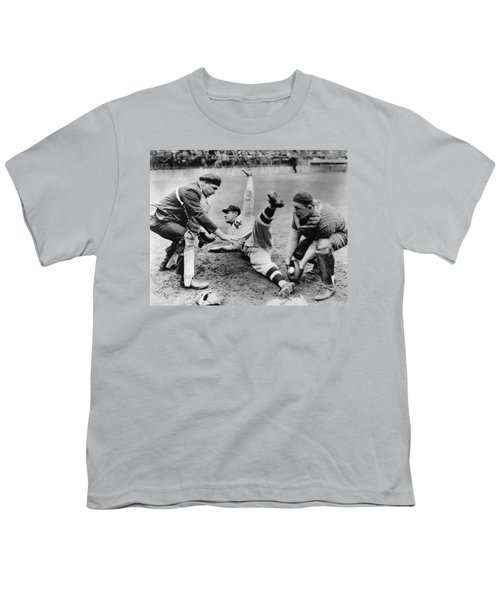 Babe Ruth Slides Home Youth T-Shirt by Underwood Archives