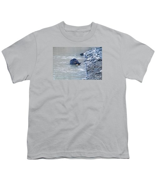 Beaver Chews On Stick Youth T-Shirt by Chris Flees