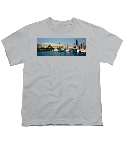 Boats Moored At A Dock, Chicago Youth T-Shirt by Panoramic Images