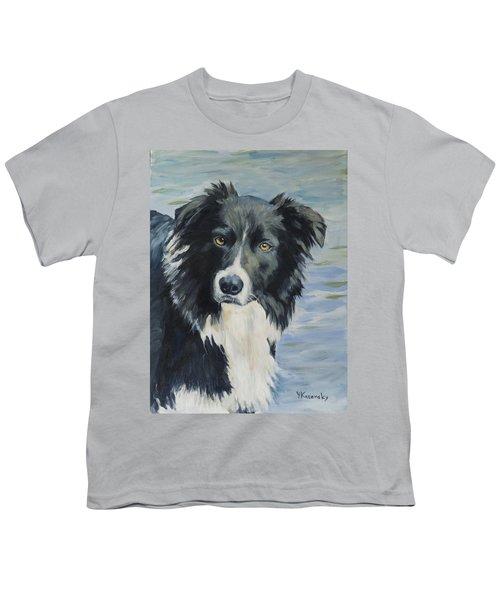 Border Collie Portrait Youth T-Shirt