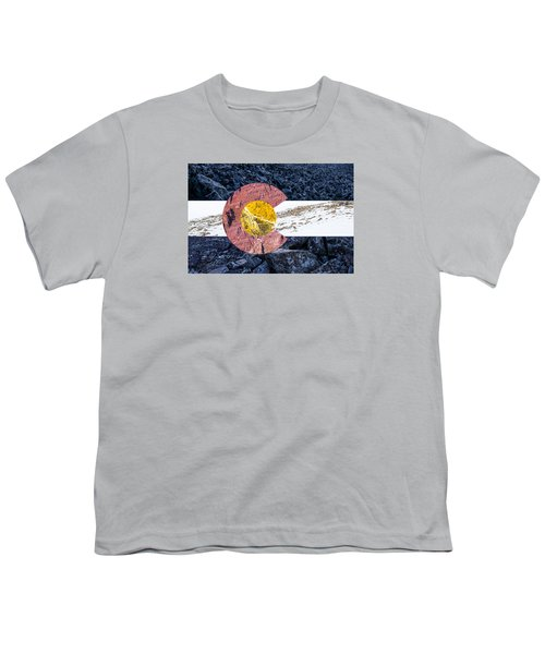 Youth T-Shirt featuring the photograph Colorado State Flag With Mountain Textures by Aaron Spong