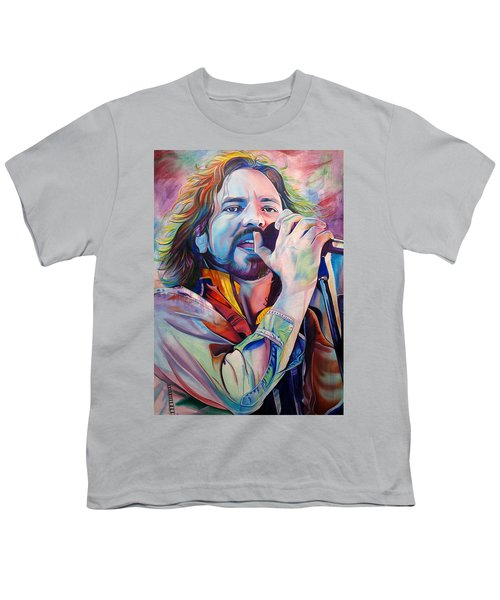 Eddie Vedder In Pink And Blue Youth T-Shirt by Joshua Morton