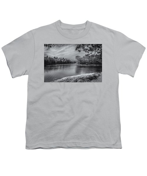 Youth T-Shirt featuring the photograph Fork In River Bw by Mark Myhaver