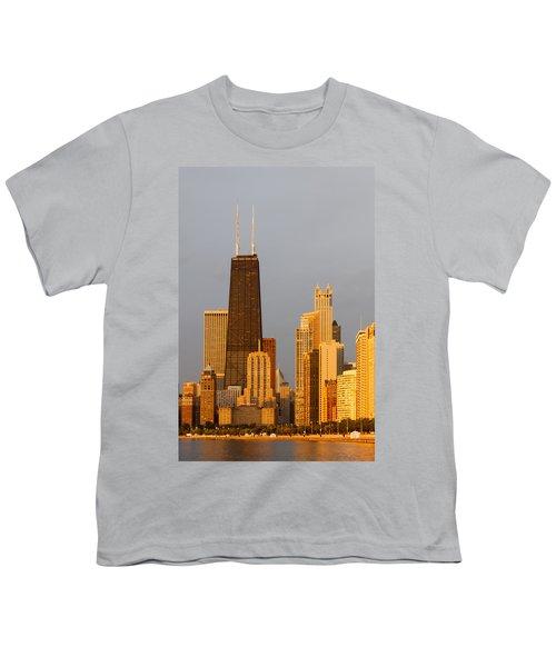 John Hancock Center Chicago Youth T-Shirt by Adam Romanowicz