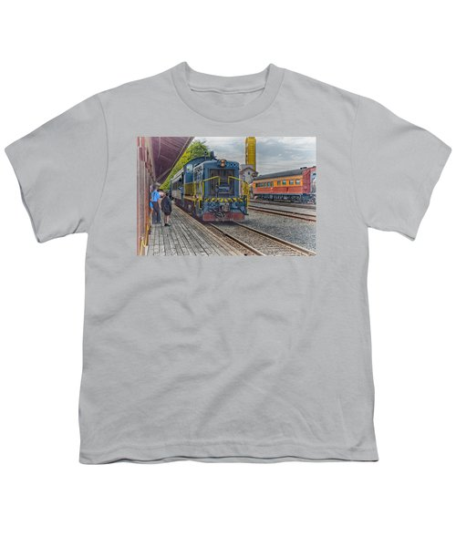Youth T-Shirt featuring the photograph Old Town Sacramento Railroad by Jim Thompson