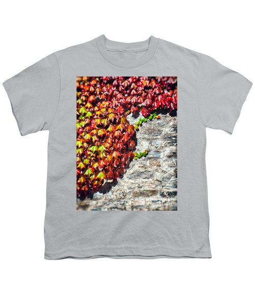 Youth T-Shirt featuring the photograph Red Ivy On Wall by Silvia Ganora