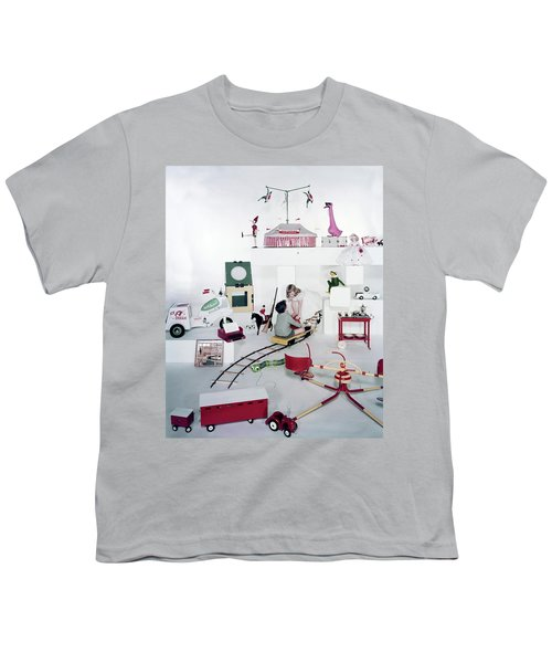 Two Children Playing With Vintage Toys Youth T-Shirt