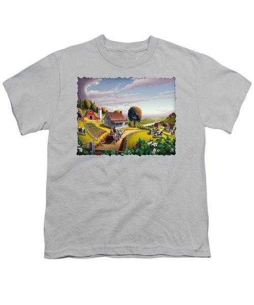 Appalachian Blackberry Patch Rustic Country Farm Folk Art Landscape - Rural Americana - Peaceful Youth T-Shirt