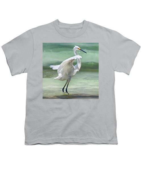 A Snowy Egret (egretta Thula) At Mahoe Youth T-Shirt by John Edwards