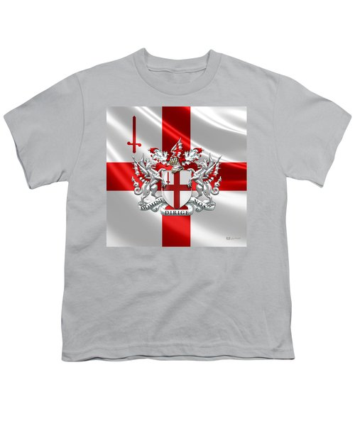 City Of London - Coat Of Arms Over Flag  Youth T-Shirt