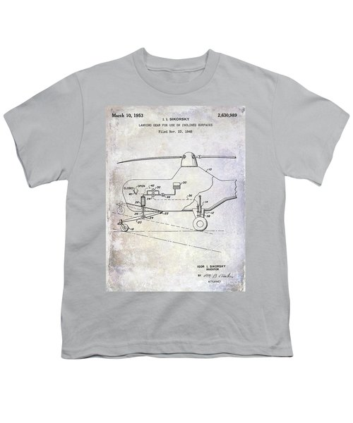 1953 Helicopter Patent Youth T-Shirt by Jon Neidert