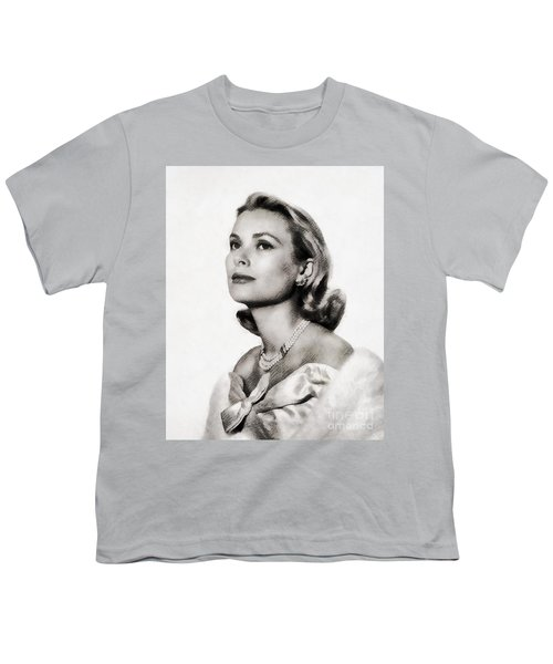 Grace Kelly, Vintage Hollywood Actress Youth T-Shirt by John Springfield