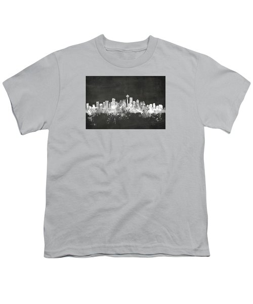 Seattle Washington Skyline Youth T-Shirt by Michael Tompsett