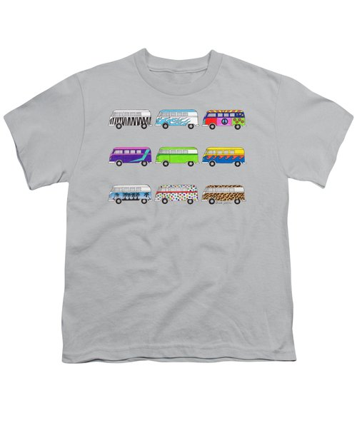 9 Wild Buses Youth T-Shirt by Rita Palmer