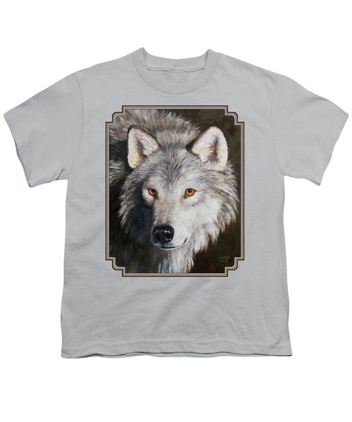 Wolf Portrait Youth T-Shirt by Crista Forest