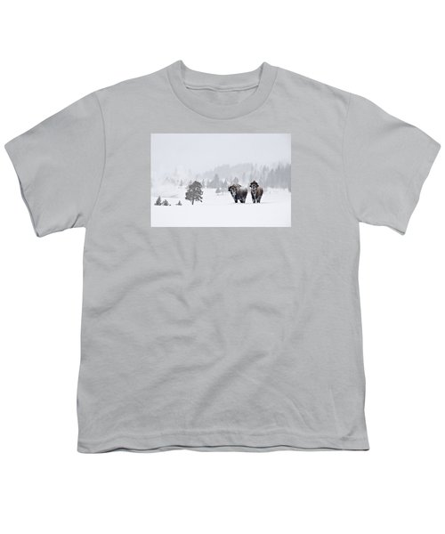 Youth T-Shirt featuring the photograph Bison In The Snow by Gary Lengyel