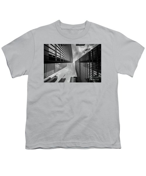 Youth T-Shirt featuring the photograph Black And White Skyscraper by MGL Meiklejohn Graphics Licensing