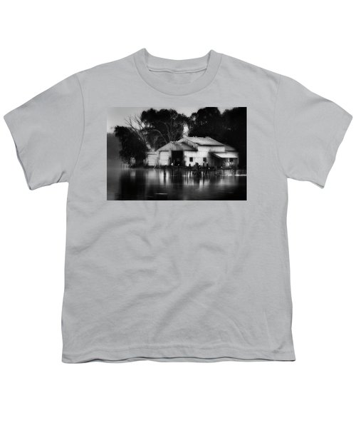 Youth T-Shirt featuring the photograph Boathouse Bw by Bill Wakeley