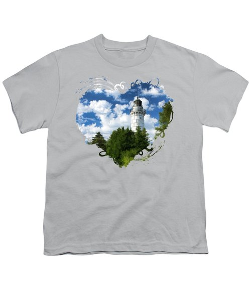 Youth T-Shirt featuring the painting Cana Island Lighthouse Cloudscape In Door County by Christopher Arndt