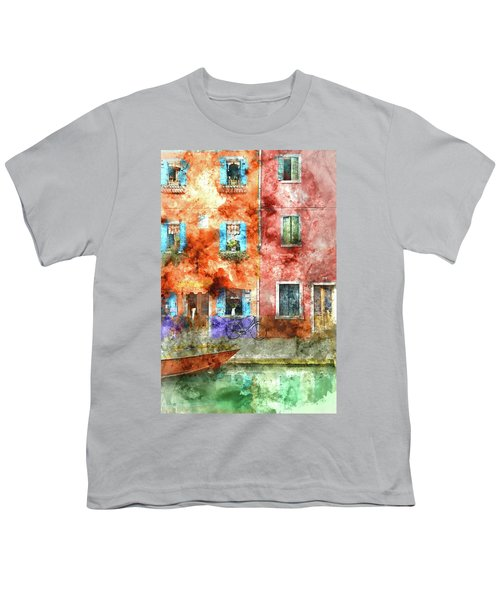 Colorful Houses In Burano Island, Venice Youth T-Shirt