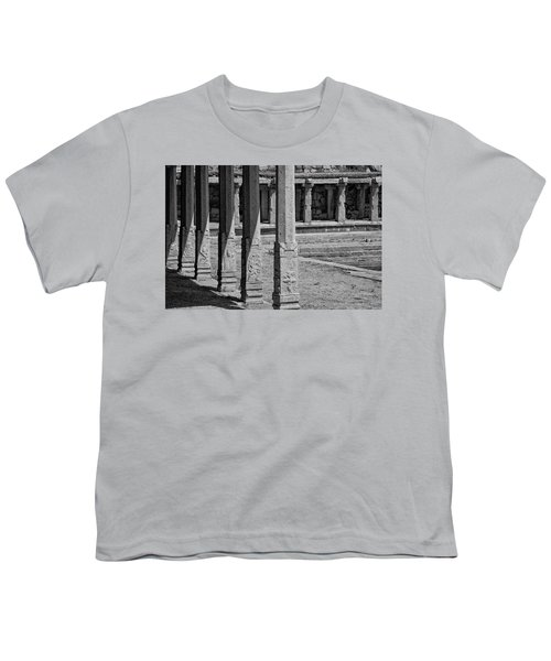 Youth T-Shirt featuring the photograph Composition Of Pillars, Hampi, 2017 by Hitendra SINKAR