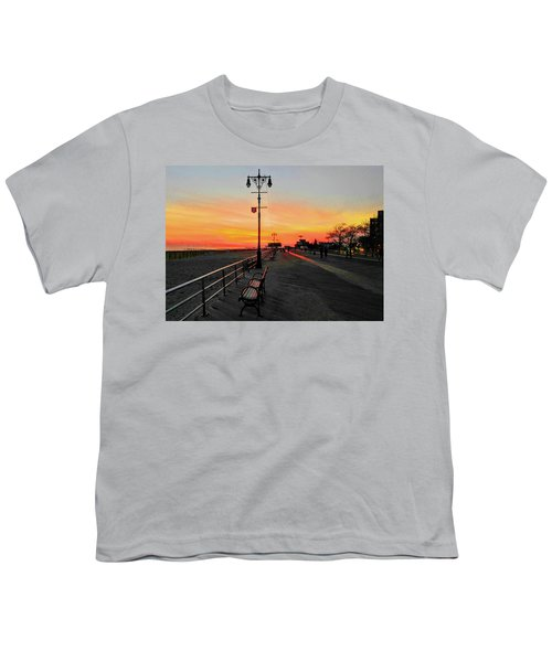 Coney Island Boardwalk Sunset Youth T-Shirt