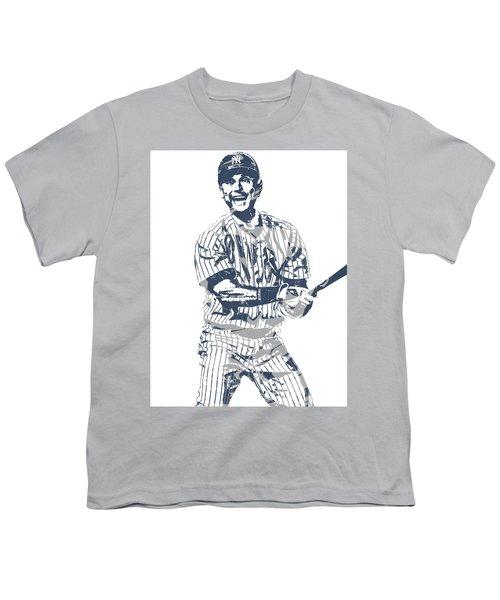 Derek Jeter New York Yankees Pixel Art 13 Youth T-Shirt