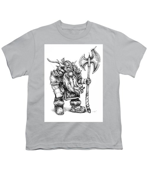 Youth T-Shirt featuring the drawing Dwarf by Aaron Spong