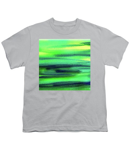 Emerald Flow Abstract Painting Youth T-Shirt by Irina Sztukowski