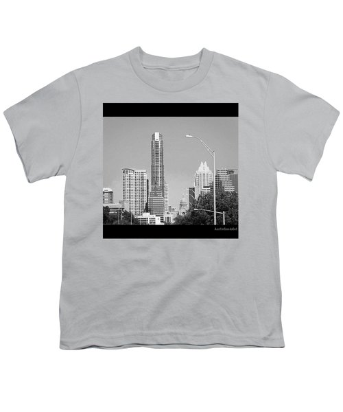 Even In #blackandwhite, The #skyline Of Youth T-Shirt by Austin Tuxedo Cat