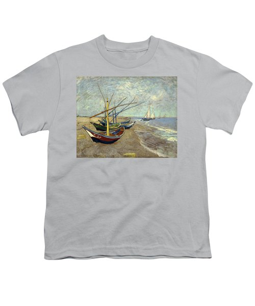 Youth T-Shirt featuring the painting Fishing Boats On The Beach by Van Gogh