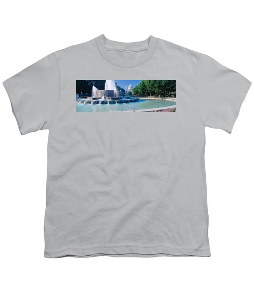 Fountain And Us Capitol Building Youth T-Shirt by Panoramic Images