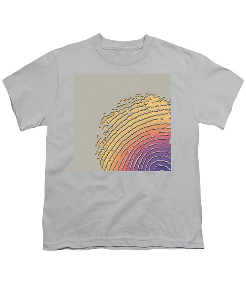 Giant Iridescent Fingerprint On Beige Youth T-Shirt by Serge Averbukh