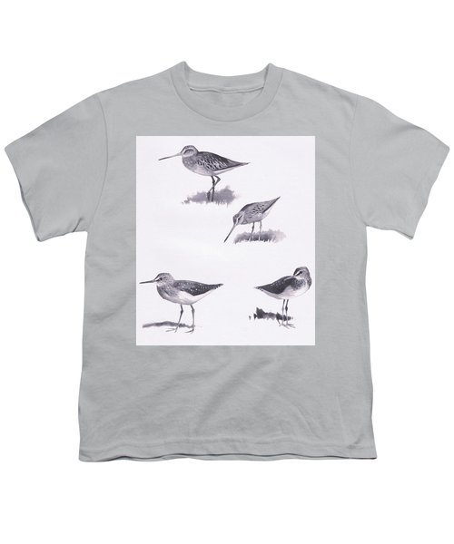Godwits And Green Sandpipers Youth T-Shirt by Archibald Thorburn