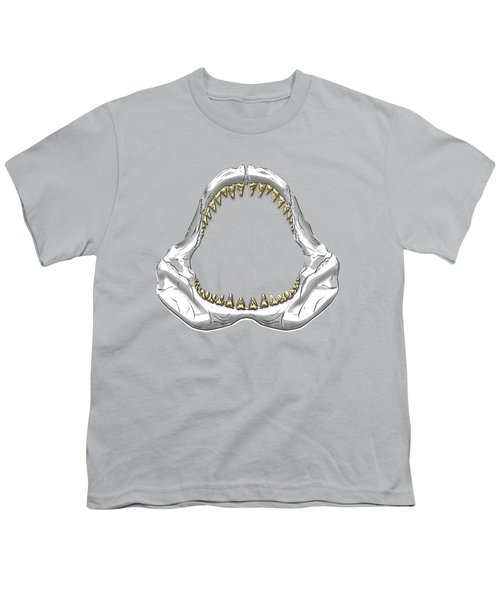 Great White Shark - Silver Jaws With Gold Teeth On White Canvas Youth T-Shirt
